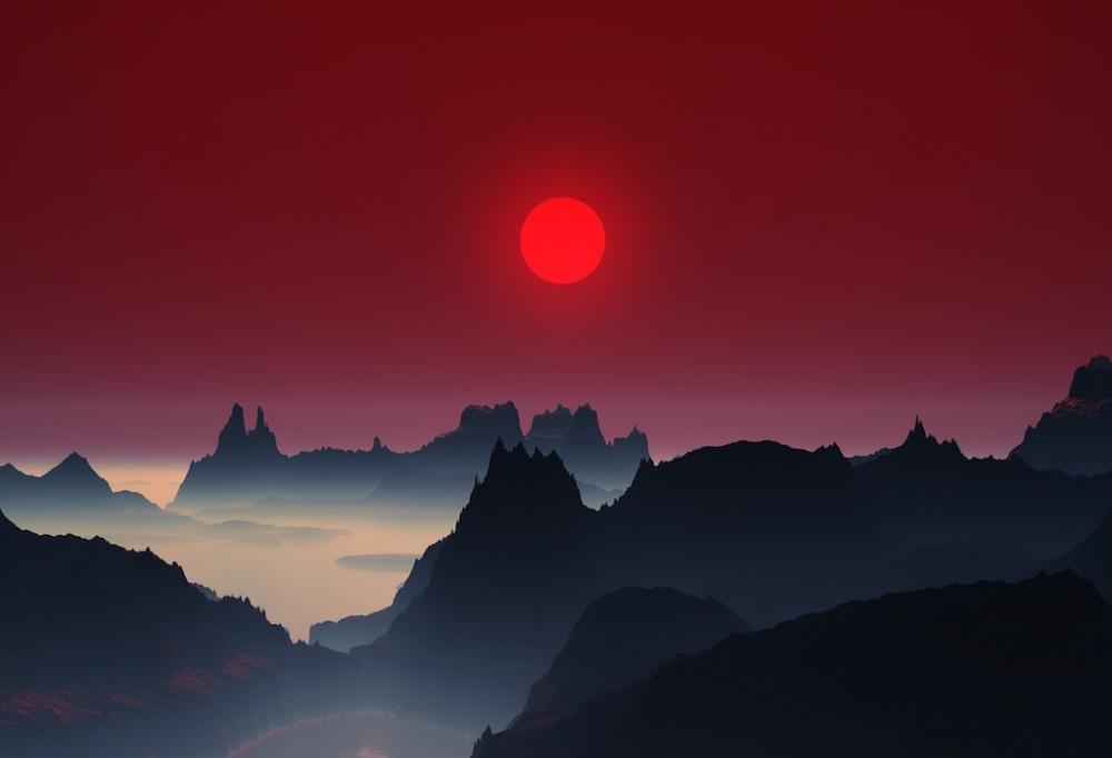Закат в горах Японии